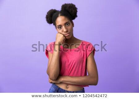 retrato · confundirse · jóvenes · afro · americano - foto stock © deandrobot