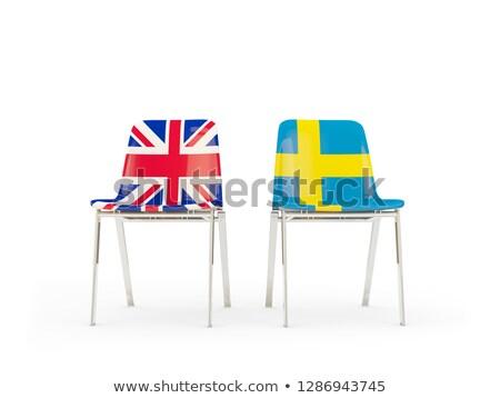Twee stoelen vlaggen Zweden geïsoleerd witte Stockfoto © MikhailMishchenko