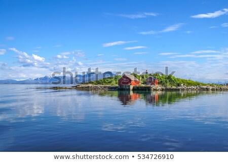 Norvégia hagyományos fából készült ház nyugalmas békés Stock fotó © Anna_Om