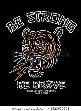 Tigre icône design logo visage noir Photo stock © blaskorizov