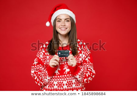Merry Bright Greeting Card Santa Holding Hands Up Stock photo © robuart