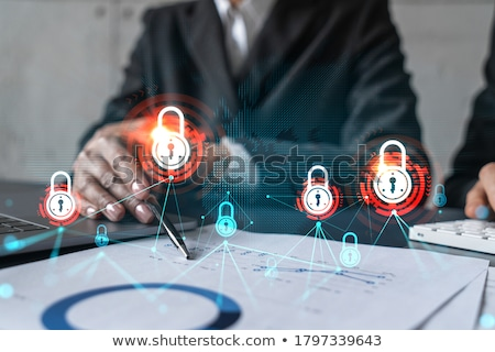 Shield and Lock icon. cyber security concept. Abstract security vector icon illustration isolated on Stock photo © kyryloff