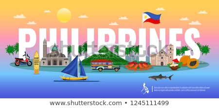 Ház zászló Fülöp-szigetek csetepaté fehér házak Stock fotó © MikhailMishchenko