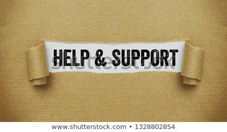 Rupt hartie de ambalaj cuvant ajutor sprijini scris Imagine de stoc © Zerbor