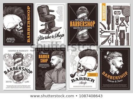 Saç berber hizmet posterler ayarlamak vektör Stok fotoğraf © robuart