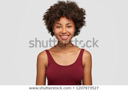 портрет улыбаясь афро американский изолированный Сток-фото © deandrobot