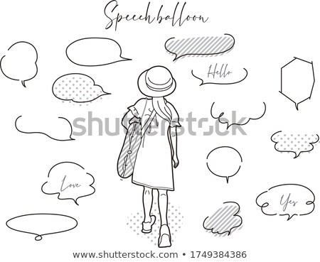 Lány szöveglufi illusztráció terv felirat beszél Stock fotó © colematt