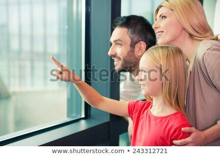 szőke · nő · lány · külső · ablak · ruha · erkély - stock fotó © ElenaBatkova