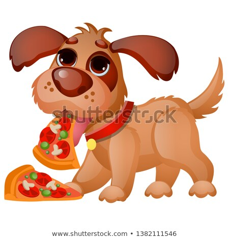 Cute animated dog eating pizza isolated on white background. Vector cartoon close-up illustration. Stock photo © Lady-Luck