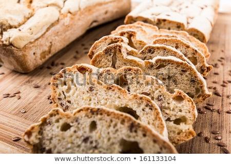 Foto stock: Fatias · caseiro · sem · glúten · pão · saúde · metal