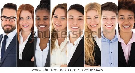 vonzó · afro · üzletasszony · ül · asztal · munka - stock fotó © nyul