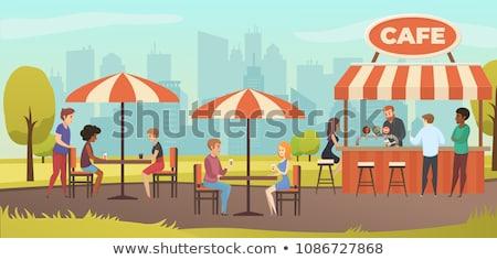 Miasta Kafejka taras miejskich restauracji wektora Zdjęcia stock © robuart