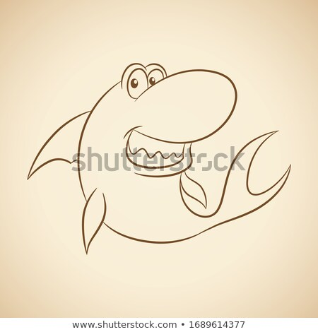 Brown Line Art Shark Cartoon on a Beige Background Stock photo © cidepix