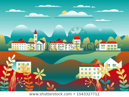 Stock photo: Countryside landscape. Country motif with farm. Beautiful city w