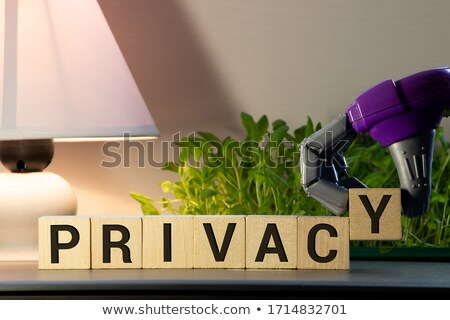 Man's Hand Protecting The Privacy Word Blocks Stock photo © AndreyPopov