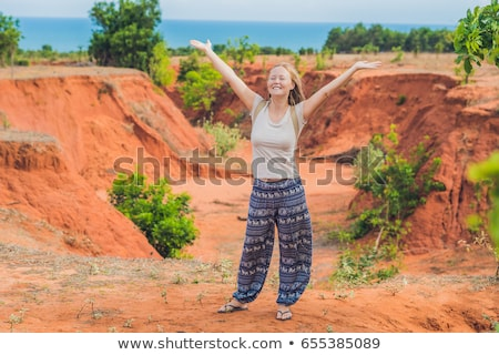 young woman in red canyon near mui ne southern vietnam stock photo © galitskaya
