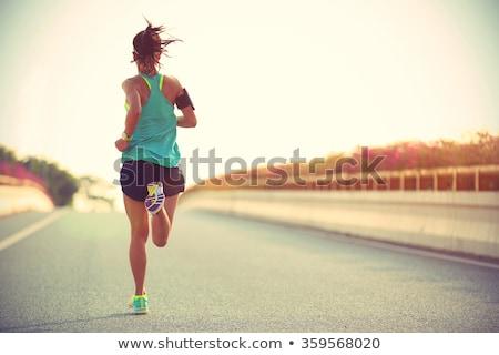 Menina azul cabelo jovem corredor corrida Foto stock © user_10144511