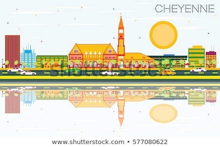 Outline Cheyenne (Wyoming) Skyline with Blue Buildings Stock photo © ShustrikS