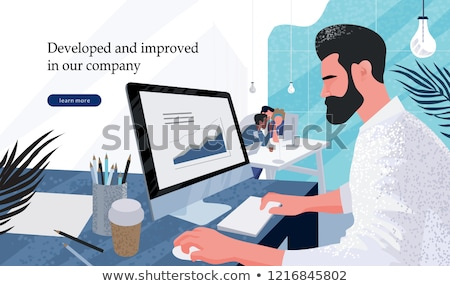 Teamwork with Laptop, Man Employee, Company Vector Stock photo © robuart