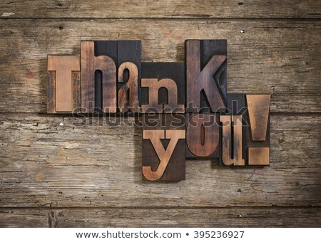 Teşekkürler bağbozumu ahşap tip kelime Stok fotoğraf © enterlinedesign
