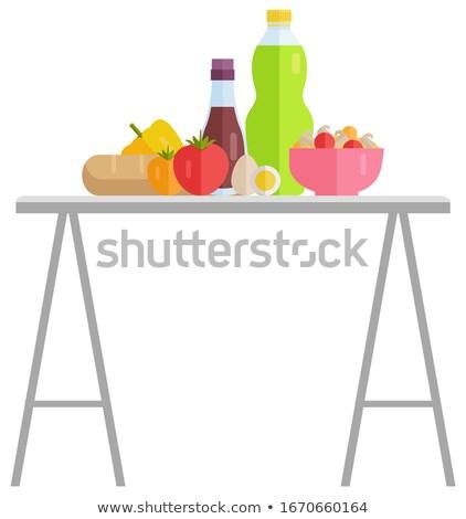 Gıda perakende ürünleri tablo garaj satış Stok fotoğraf © robuart