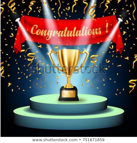 Vezető bajnok ünneplés vektor szalag legelső Stock fotó © barsrsind