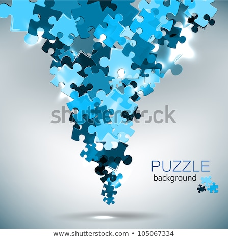 abstract blue shiny puzzles stock photo © pathakdesigner