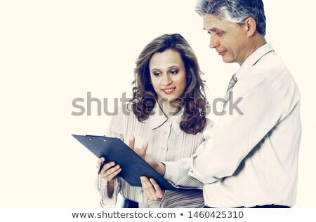 Male Female Hands Shaking Handshake Isolated on White Background Stock photo © Qingwa