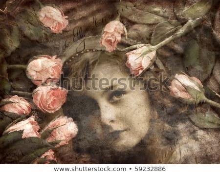 Lány rózsaszín virágok grunge régi papír papír Stock fotó © cherju