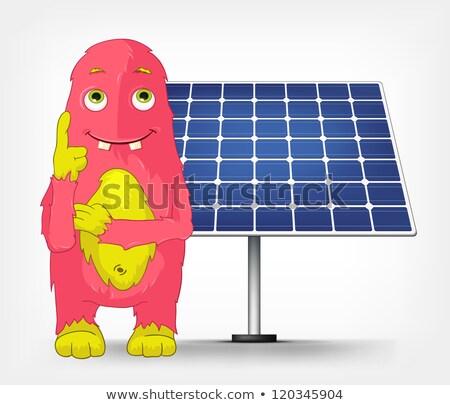 Grappig monster denken zonne-energie geïsoleerd Stockfoto © RAStudio