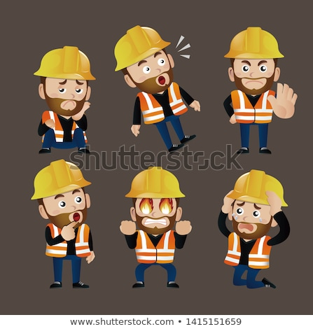 Stock photo: Architect kneeling by electrician