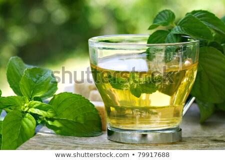 yeşil · masa · örtüsü · cam · çanak · bez · gıda - stok fotoğraf © tab62