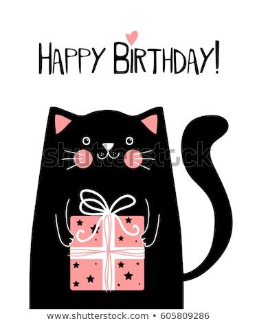 Mutlu yıllar kart sevimli kedi kız soyut Stok fotoğraf © balasoiu