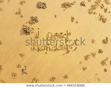word sun spell on beach wet summer sand stock photo © lunamarina