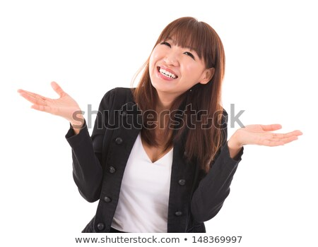 Stock photo: Asian businesswoman open arms showing unbelievable expression