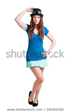 Pretty Girl in Short Skirt and Steam Punk Hat Stock photo © rcarner