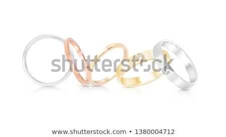Ringen kostbaar metalen gelukkig metaal geschenk Stockfoto © alinamd