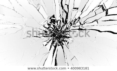 Pieces of cubic Shattered black glass isolated on black Stock photo © Arsgera