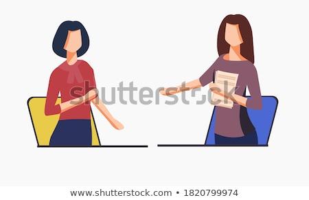Kézfogás két személy férfi nő monitor izolált Stock fotó © oly5