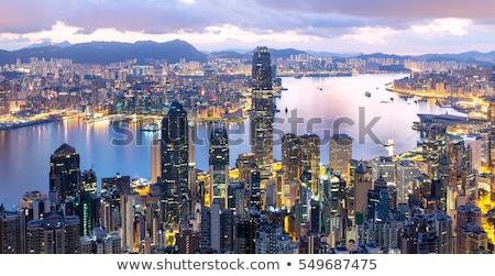 Hongkong Night City mieszkaniowy miasta ściany świetle Zdjęcia stock © cozyta