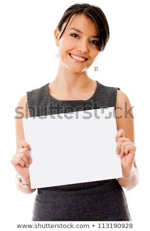 Businesswoman - Blank Sign stock photo © dgilder