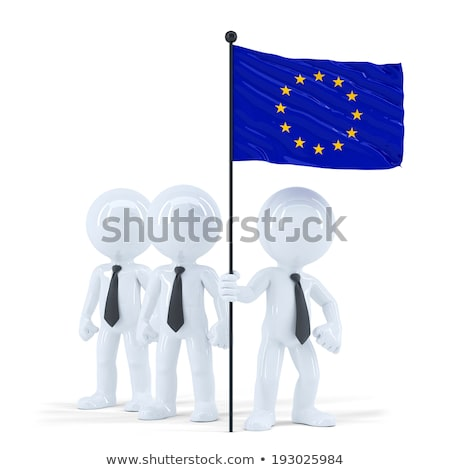business team holding flag of european union isolated contains clipping path stock photo © kirill_m