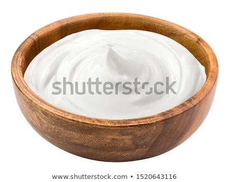 サワークリーム 食品 木材 脂肪 スプーン 皿 ストックフォト © yelenayemchuk