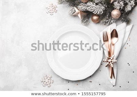 ünnepi · asztal · kész · sablon · bézs · rózsák - stock fotó © manera