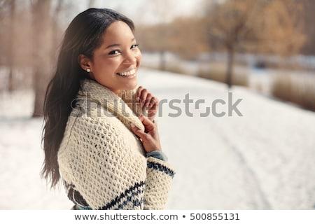 szexi · divat · modell · pulóver · visel · tél - stock fotó © hasloo
