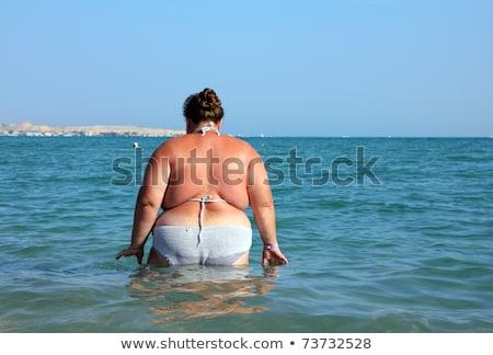 избыточный вес женщину ванны морем мнение пляж Сток-фото © Mikko