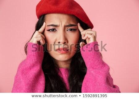 Vrouw hoofdpijn aanraken camera witte gezondheid Stockfoto © wavebreak_media