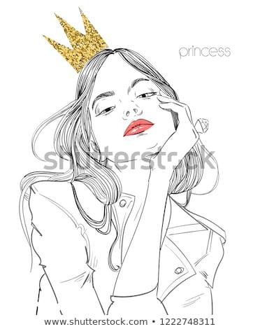 женщину · корона · модный · волос · серый · модель - Сток-фото © dolgachov