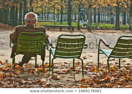 elderly man sitting in the garden Stock photo © meinzahn