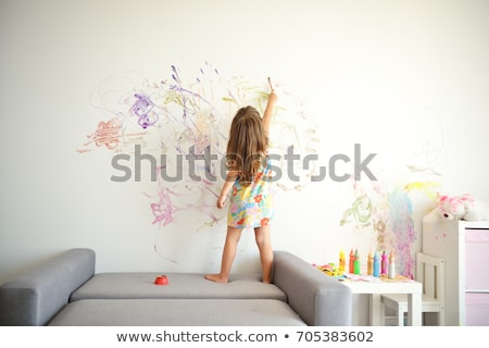 cute pretty little girl artist with colorful paint stock photo © ozgur